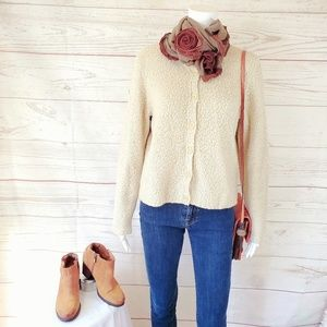 J.Crew soft fuzzy boucle knit button front cardi